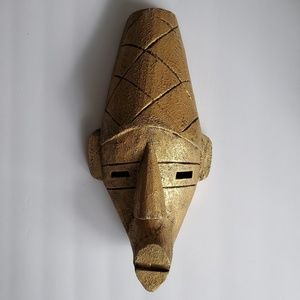 Indonesian Wood Mask Gold African Tribal Wall Art